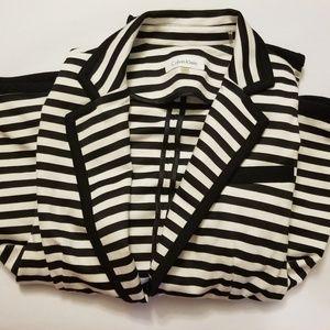 White and black stripe Calvin Klein one button
